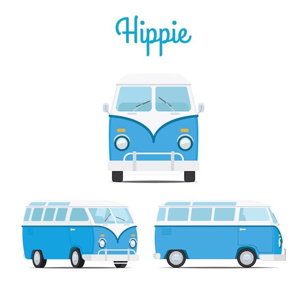 Hippie vintage blauwe minibusje Premium Vector
