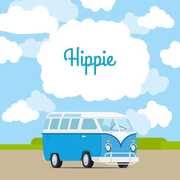 Hippie vintage busje sjabloon Premium Vector