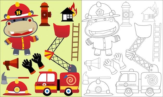 Hippo cartoon de brandweerman met vuur redding apparatuur Premium Vector