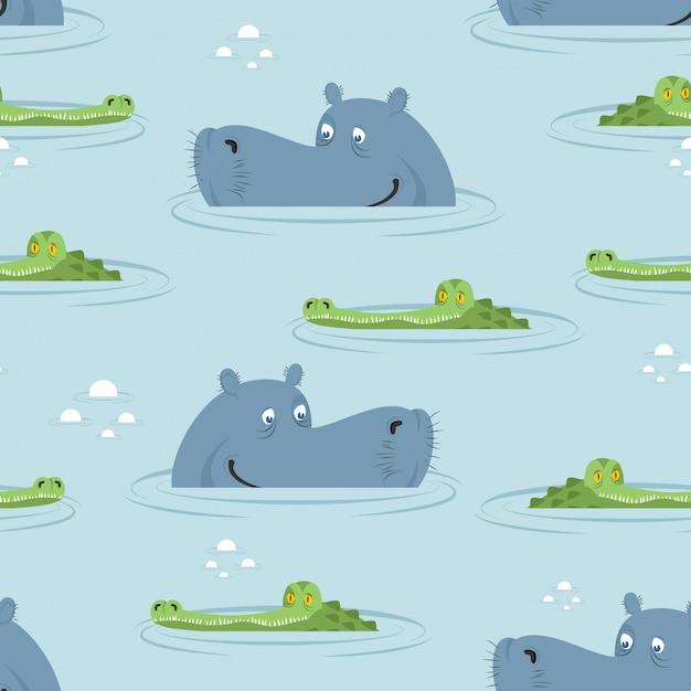 Hippo en krokodil in water naadloos patroon. goed nijlpaard en alligator Premium Vector
