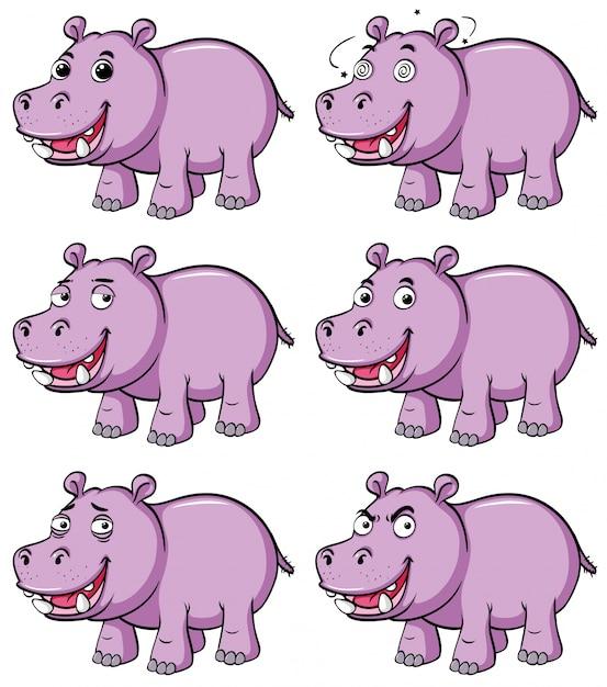 Hippo in zes verschillende emoties Gratis Vector