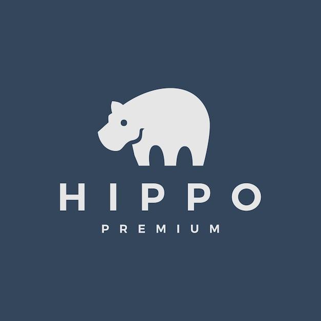 Hippo logo pictogram illustratie Premium Vector