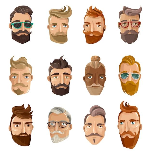 Hipster barbershop cartoon mensen instellen Gratis Vector