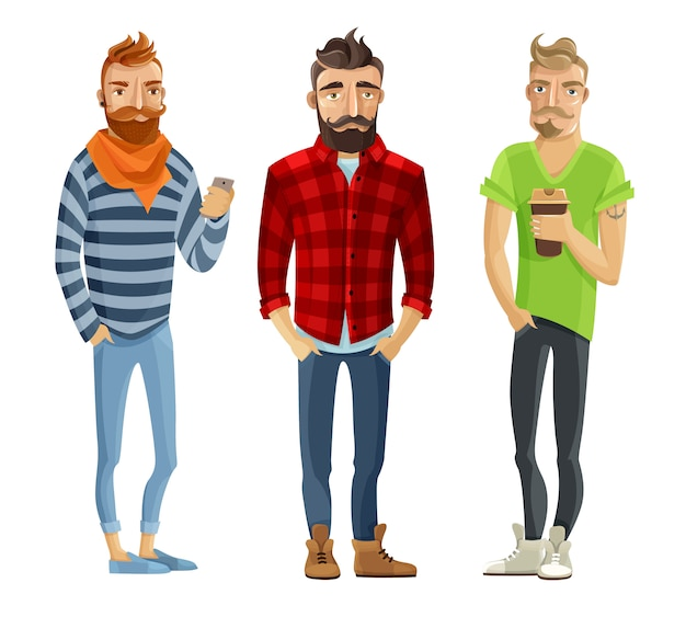 Hipster cartoon mensen instellen Gratis Vector