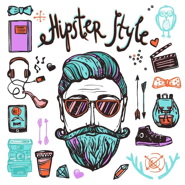 Hipster cartoon schets concept Gratis Vector