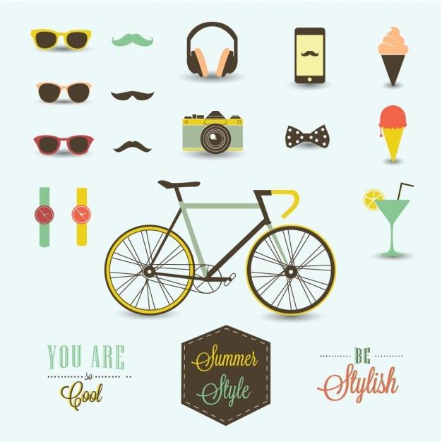 Hipster design elements Gratis Vector