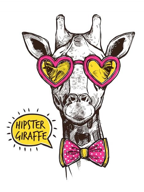 Hipster dierenaffiche Gratis Vector