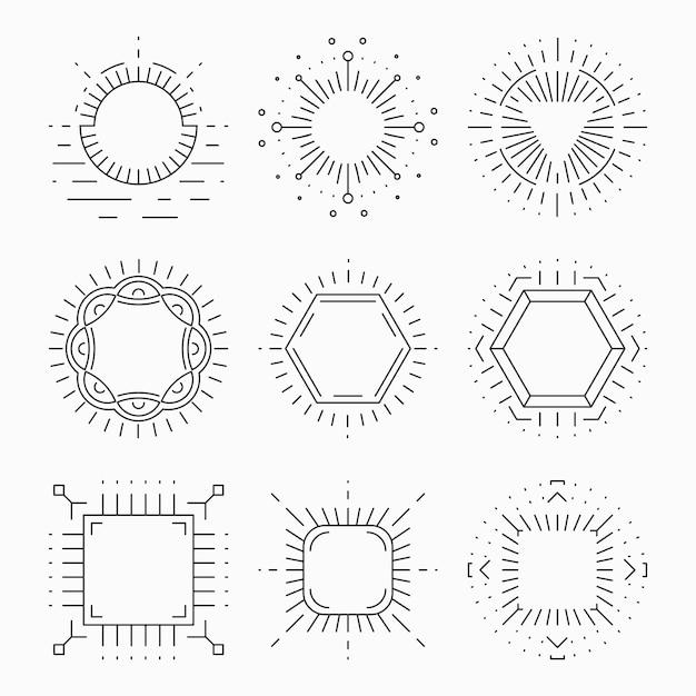Hipster-frames met dunne lijnen voor emblemen en badges. element of teken retro vintage label, logo sjabloon, symbool laconiek ontwerp, Premium Vector
