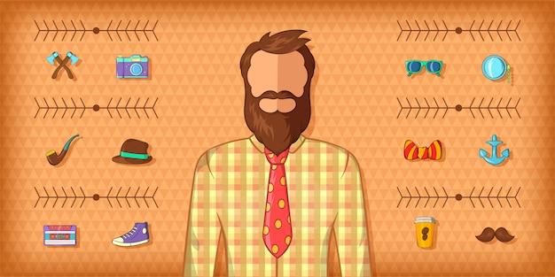 Hipster man horizontale banner bruin, cartoon stijl Premium Vector