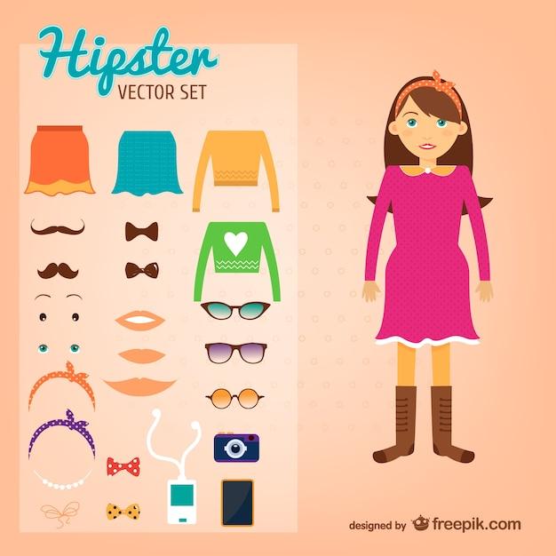 Hipster meisje vector set Gratis Vector