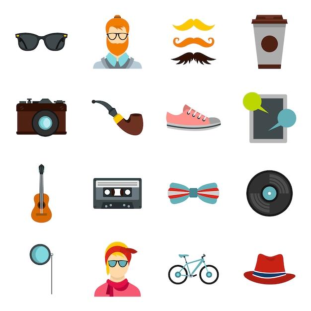 Hipster pictogrammen instellen Premium Vector