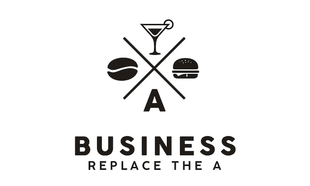 Hipster retro burger cafe-logo Premium Vector