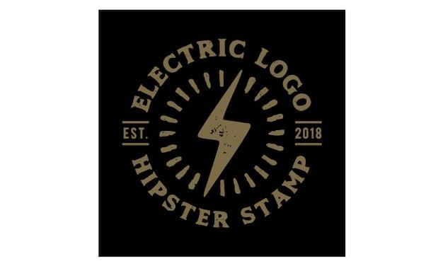 Hipster retro elektrische stempel logo design Premium Vector