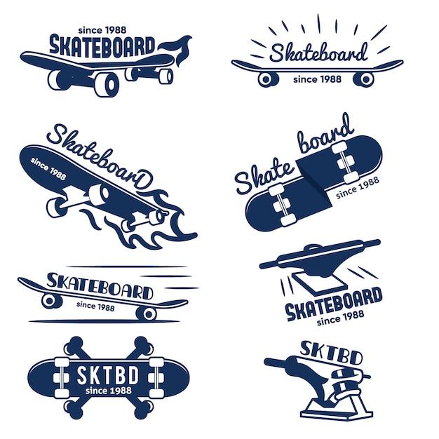 Hipster skateboard logo en badges collection Premium Vector