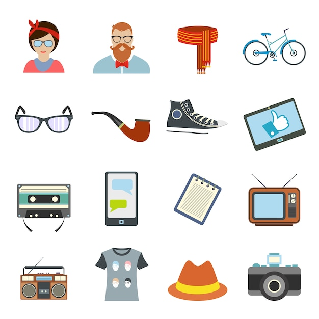 Hipster stijl platte elementen instellen. collectie met fiets, bril, boog, pijp en camera Premium Vector