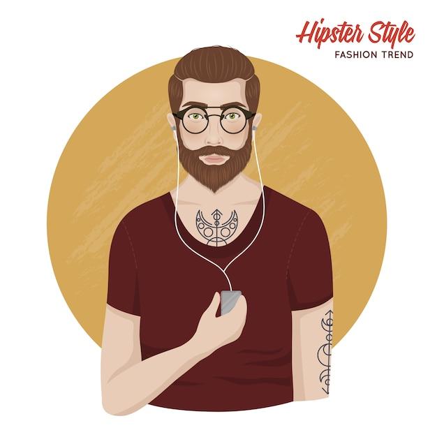 Hipster stijlsjabloon Gratis Vector