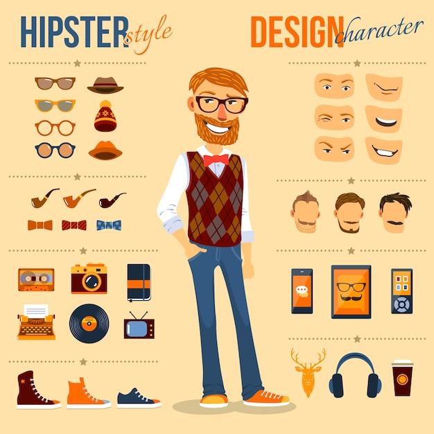 Hipster-tekenset Gratis Vector
