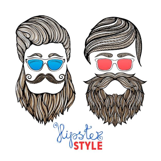 Hipsters hoofden gekleurde glazen doodle pictogrammen Gratis Vector