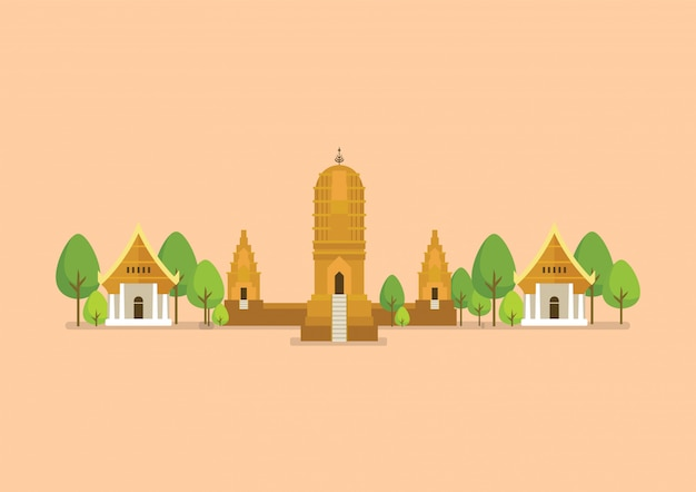 Historische oude tempelillustratie Premium Vector