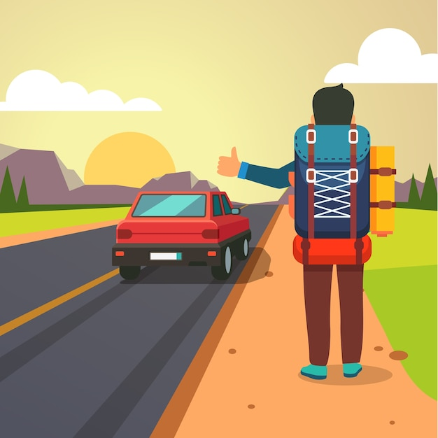 Hitchhiking road travel. duimende man stopte auto Gratis Vector