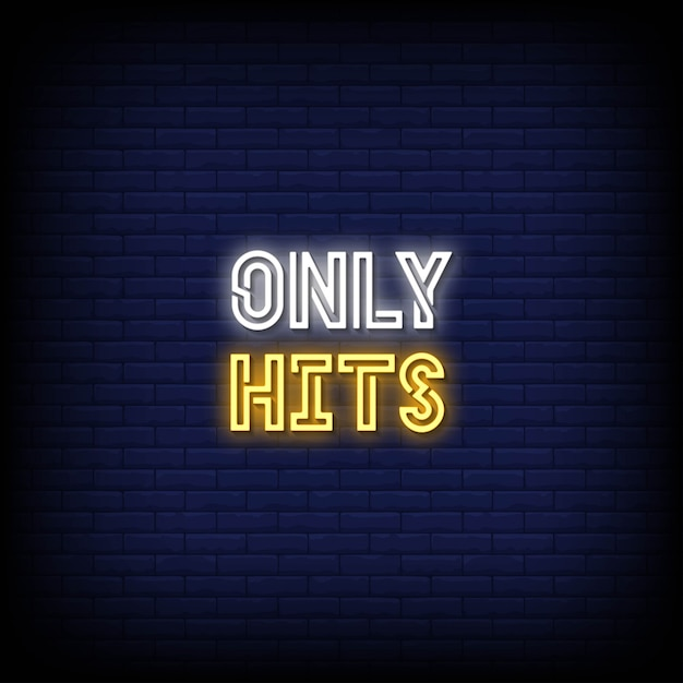 Hits only neon signs style text Premium Vector