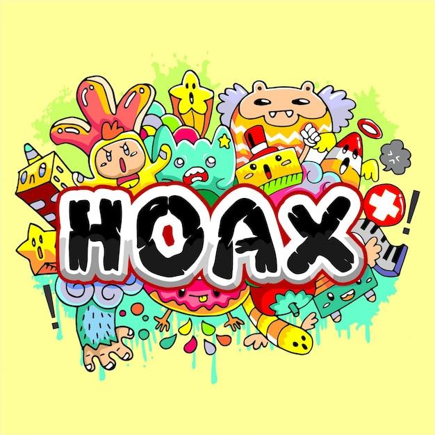 Hoax doodle cartoon achtergrond Premium Vector