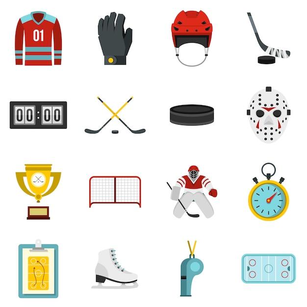 Hockey ingesteld plat pictogrammen Premium Vector