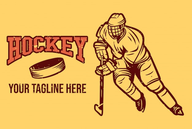 Hockey-logo in vintage stijl Premium Vector