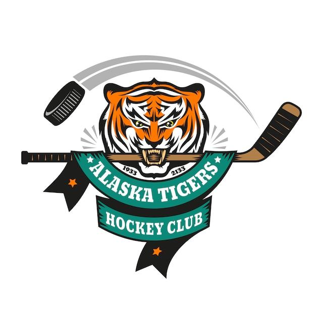 Hockeylogo, mascotte, embleem van een tijger met een hockeystick in zijn tanden. Premium Vector