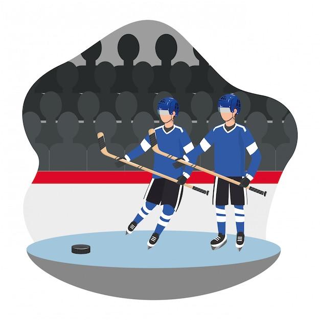 Hockeyspelerspel Premium Vector