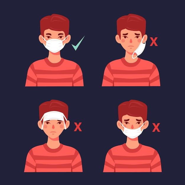 Hoe een gezichtsmasker goed en fout te dragen Gratis Vector