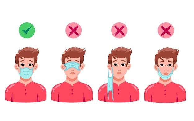 Hoe een gezichtsmasker te dragen (goed en fout) Gratis Vector
