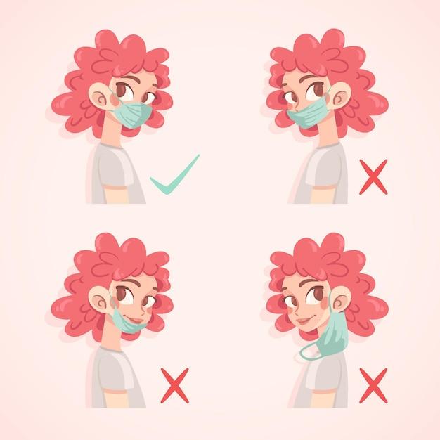 Hoe een gezichtsmaskerillustratie te dragen Premium Vector