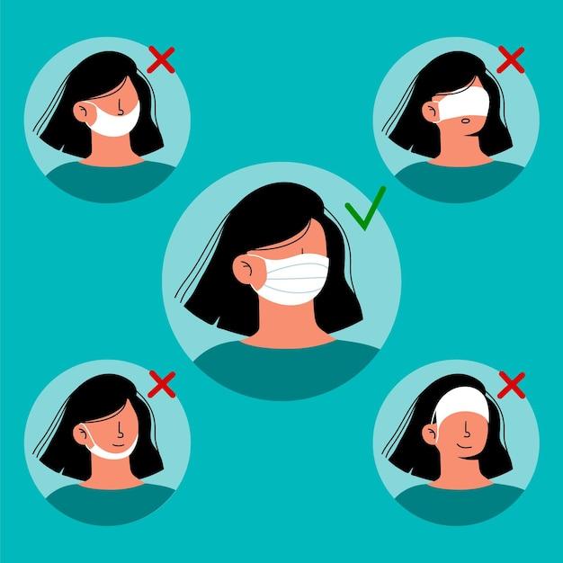 Hoe een gezichtsmaskerillustratie te dragen Gratis Vector