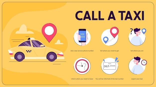 Hoe een taxi te bestellen met behulp van de instructies van de mobiele telefoon-app. transportservice, online applicatie. geel auto. cartoon illustratie Premium Vector