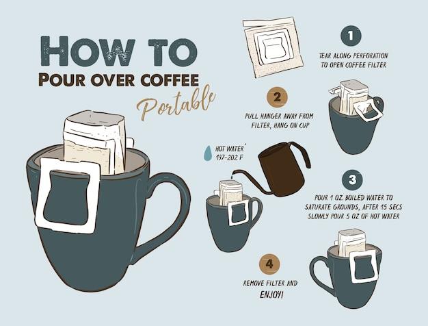 Hoe giet je over draagbare koffie Premium Vector