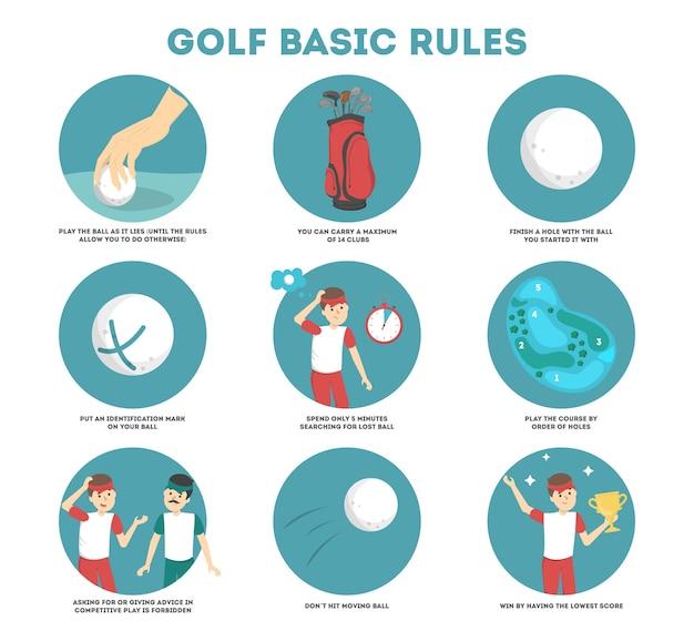 Hoe golfgids voor beginners te spelen. basisregels. man speler op het veld met bal. golf les. flat vector illustratie Premium Vector