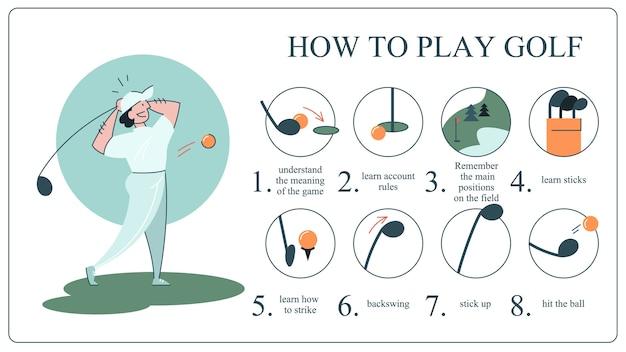 Hoe golfgids voor beginners te spelen Premium Vector