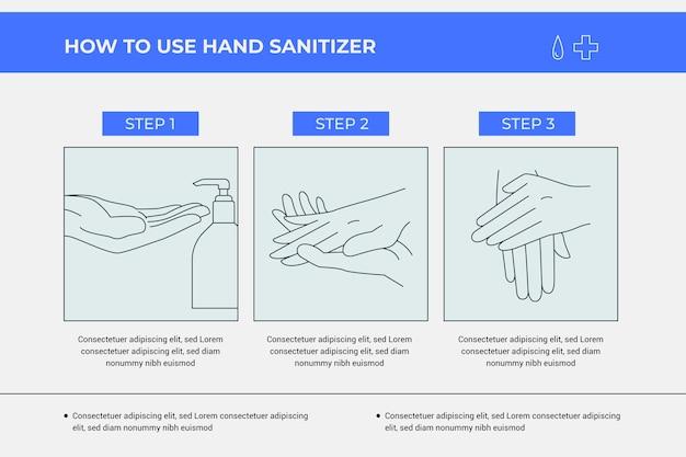 Hoe infographic handdesinfecterende stappen te gebruiken Gratis Vector