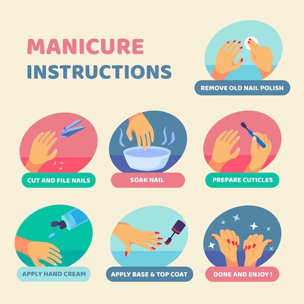 Hoe manicure thuis te doen Gratis Vector