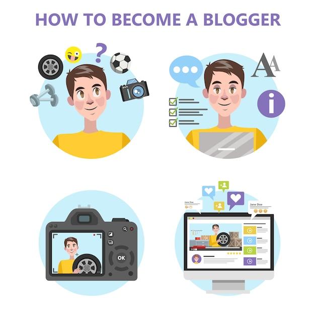 Hoe u een goede blogger-infographic wordt Premium Vector