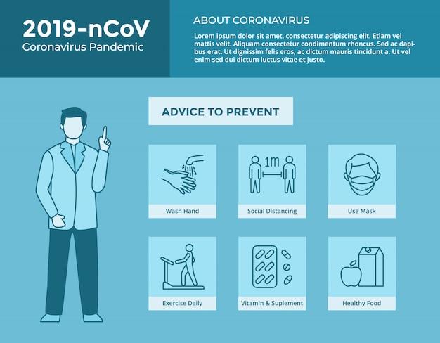 Hoe u het coronavirus kunt stoppen met het verzamelen van pictogrammen en een arts die advies geeft voor poster- en sjabloonbrochures Premium Vector