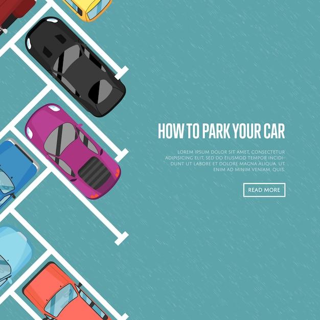 Hoe uw autobanner in vlakke stijl te parkeren Premium Vector