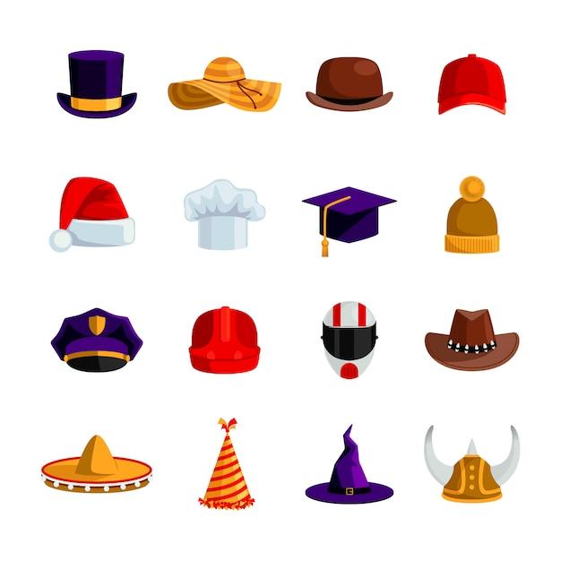 Hoeden en kappen vlakke kleuren iconen set van sombrero bowler vierkante academische hoed baseballpet Gratis Vector