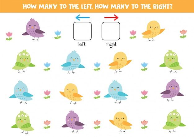 Hoeveel vogels gaan naar links, hoeveel naar rechts. Premium Vector