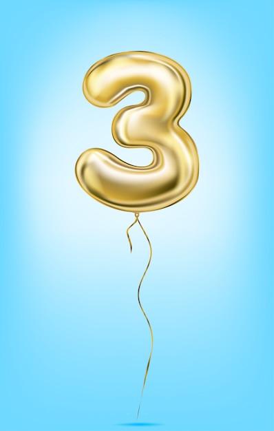 Hoge kwaliteit vector afbeelding van gouden ballonnen nummers Premium Vector