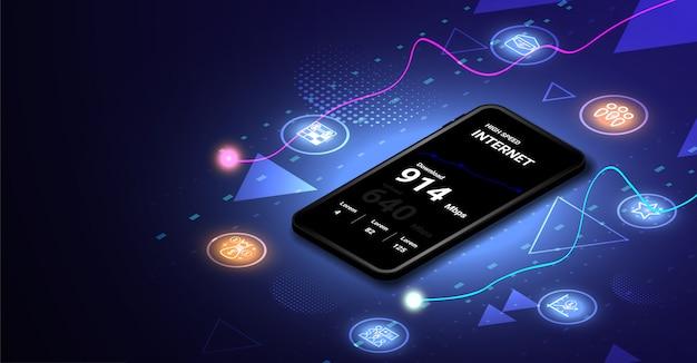Hoge snelheid internet op mobiel isometrisch concept Premium Vector