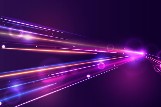 Hoge snelheid lichten trail achtergrond Gratis Vector