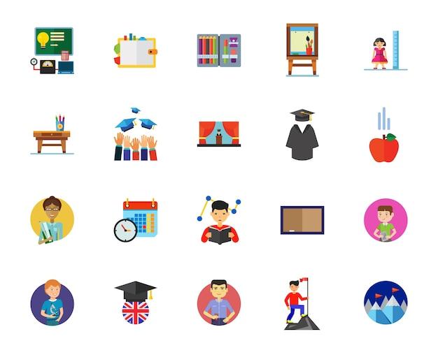 Hoger onderwijs icon set Gratis Vector