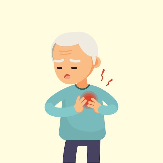 Hogere mens die een hartaanval heeft Premium Vector
